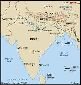 Ganges Map from maps101.com